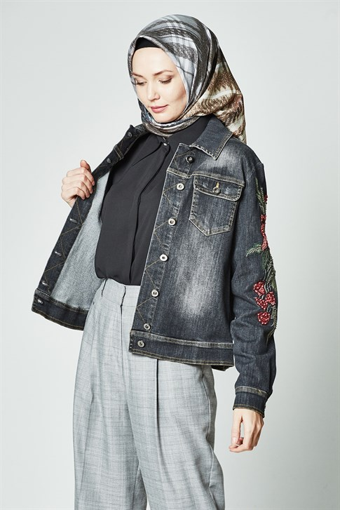 Armine Embroidery Detail Denim Jacket 8YK605 Gray