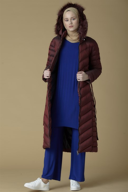Armine Quilted Long Jacket Claret Red 9K1004