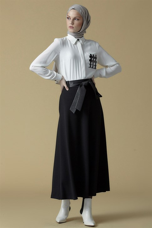 Armine Belt Detailed Skirt Black 9K1821
