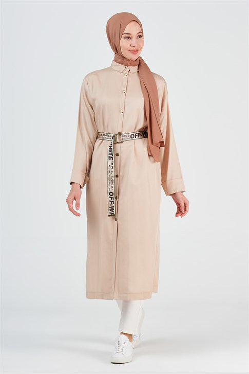 Armine Belt Detailed Cape 8Y7566 Beige