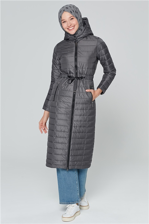 Armine Hooded Quilted Cape 20KA1001 Gray