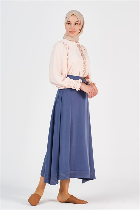 Armine Embroidery Detailed Skirt Indigo 20Y1917