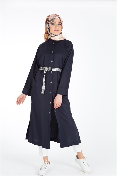 Armine Belt Detailed Cape 8Y7566 Navy Blue