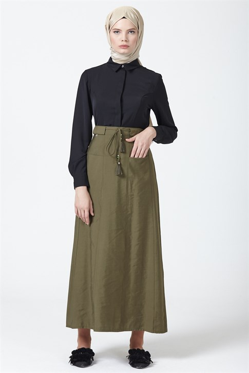 Armine Lacing Detailed Skirt Green 9Y1750
