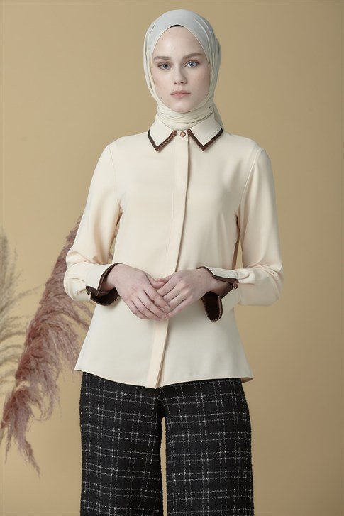 Armine Piping Detailed Shirt Beige 9K3737