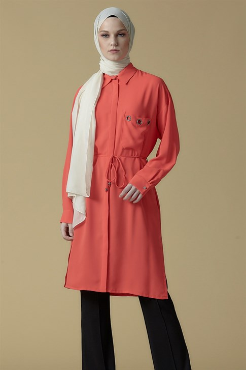 Armine Pocket Detailed Tunic Coral 9K4838