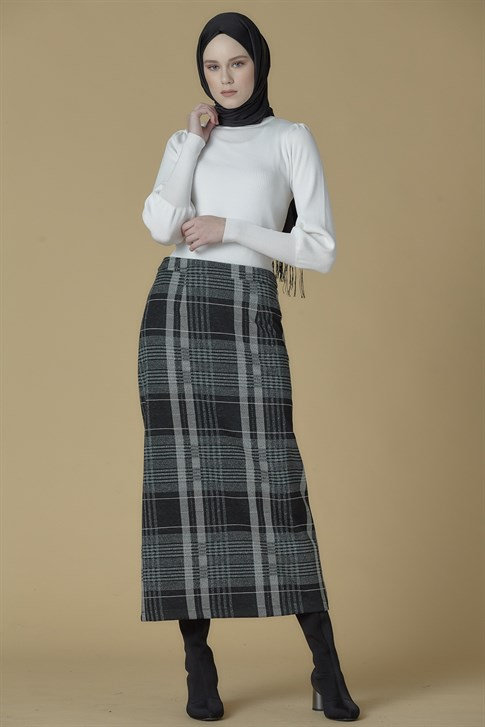 Armine Plaid Detailed Skirt Green 9K1860