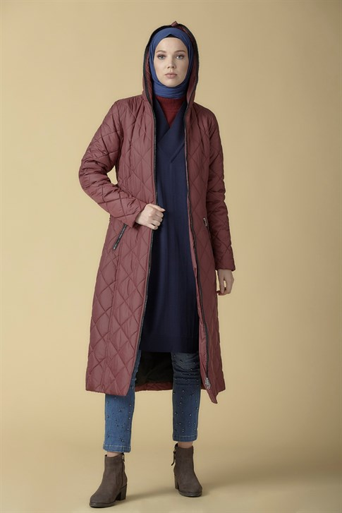 Armine Quilted Long Jacket Claret Red 9K1009