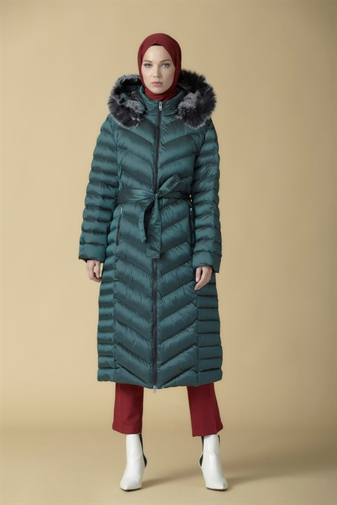 Armine Quilted Long Jacket Green 9K1004