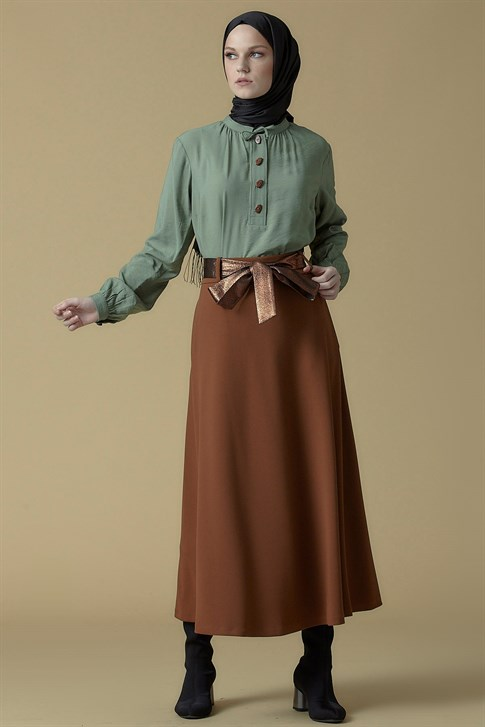 Armine Belt Detailed Skirt CAMEL 9K1821