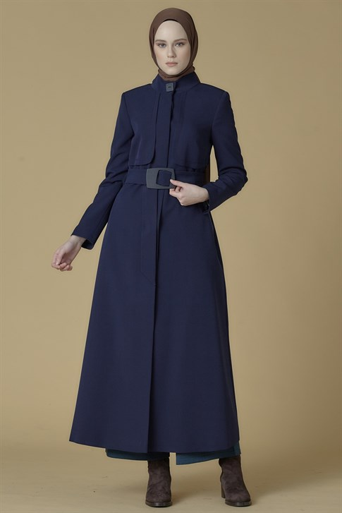 Armine Belt Detailed Topcoat Navy Blue 9K8840