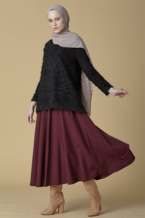 Armine Flared Skirt Plum 9K1868