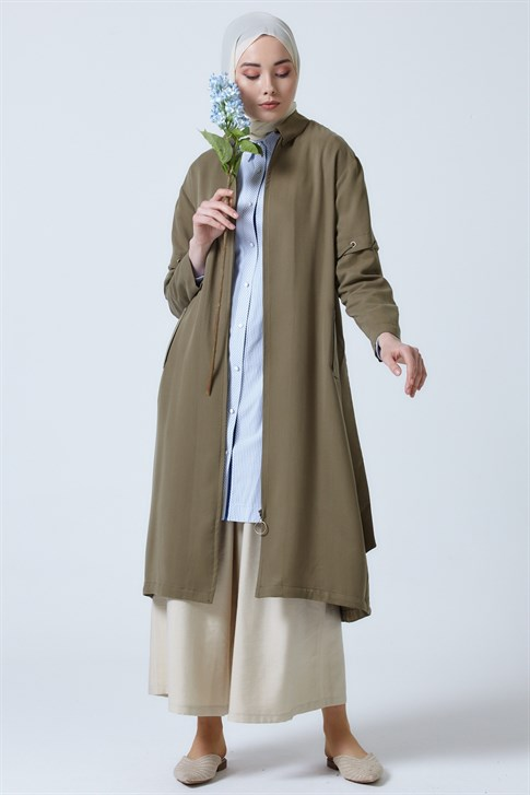 Armine Seasonal Long Jacket Khaki 9Y7730