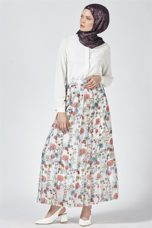 Armine Pleated Detailed Skirt Ecru 9Y1735
