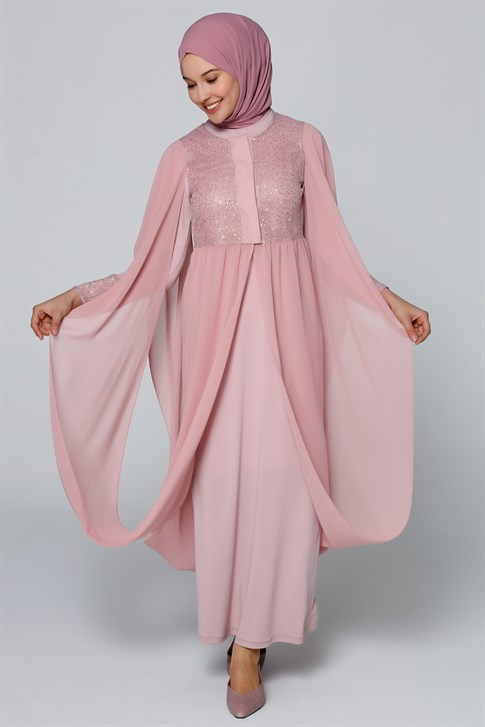 Armine Chiffon Detailed Suit Light Pink 8y6574