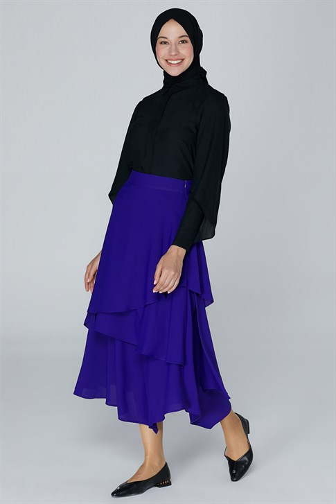 Armine Flounced Detail Skirt Purple 9K1814
