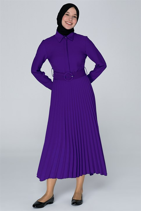 Armine Pleated Detailed Dress Purple 9Y9803