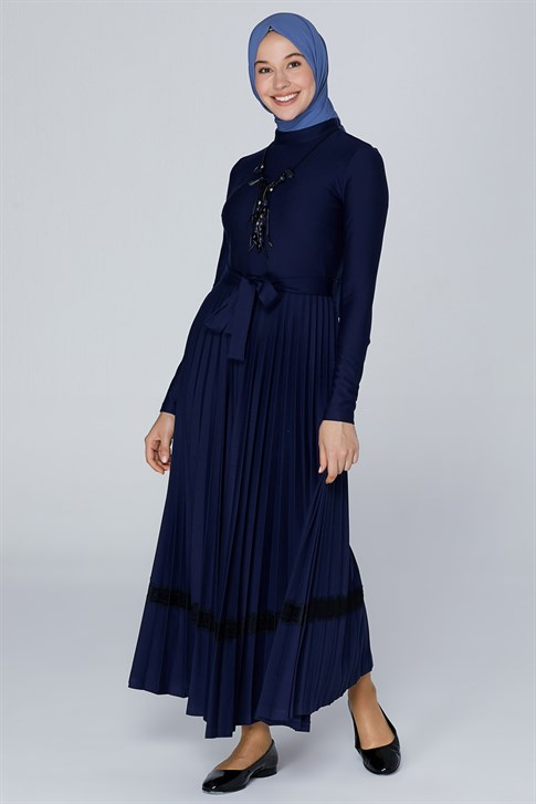 Belli Skirt Pleated Dress 19KA9822 Navy Blue