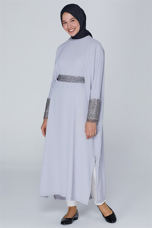 Armine Sequin Detailed Dress Gray 9K9865