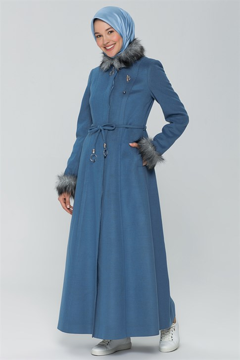 Armine Fur Collar and Arm OverCoat 19KRA402 Blue
