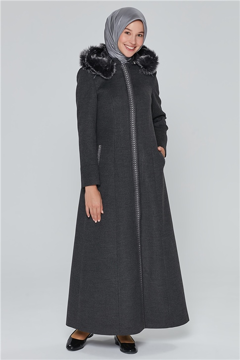 Armine Fur Hooded OverCoat 19KRA406 Anthracite