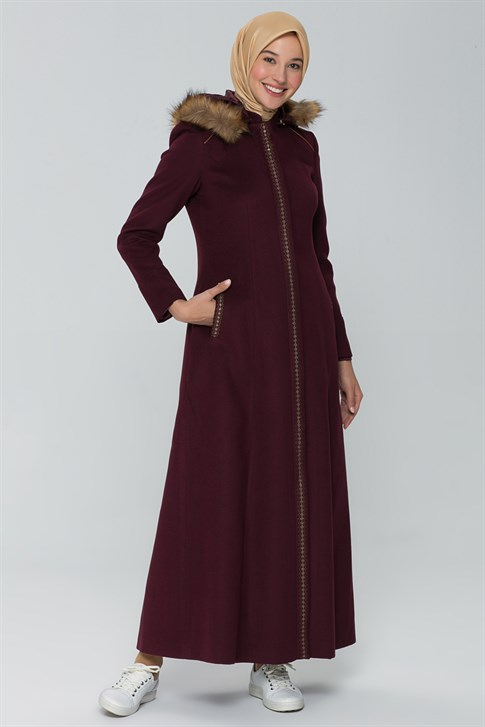 Armine Fur Hooded OverCoat 19KRA406 BORDEAUX