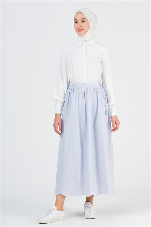 Armine Embroidery Detailed Skirt Ice Blue 9Y1749