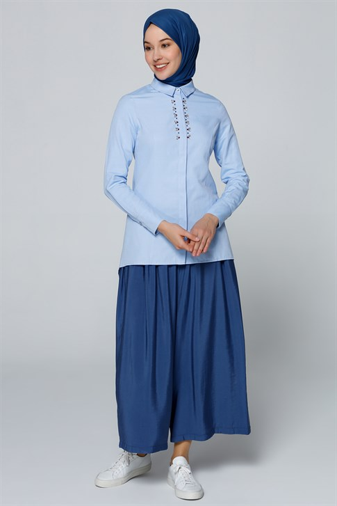 Armine Bead Embroidered Shirt Blue 9Y3615
