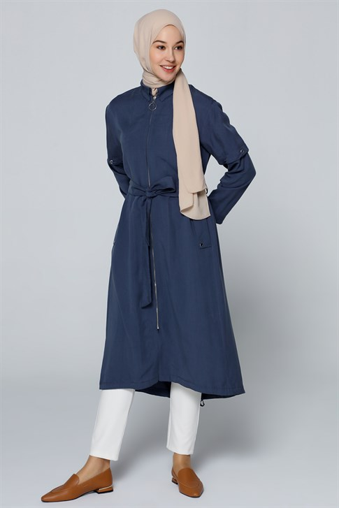 Armine Eyelet Detailed Long Jacket Navy Blue 9Y7730