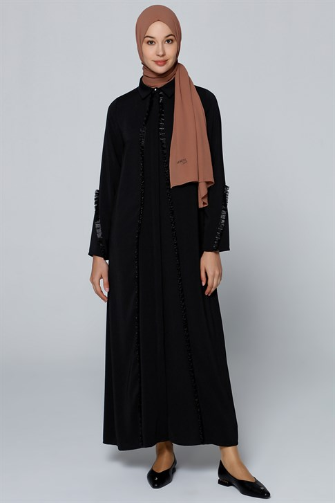 Armine Tassel Detailed Abaya Black 9YZ8017