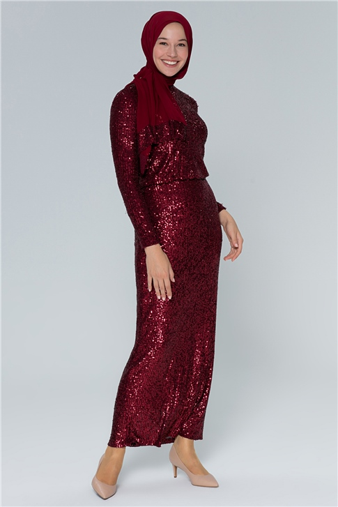 Armine Sequin Dress 19YA9737 BORDEAUX