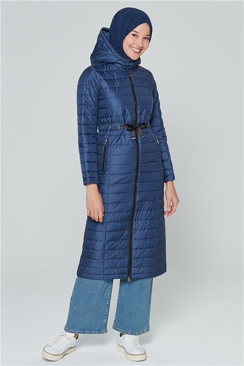 Armine Hooded Quilted Cape 20KA1001 Navy Blue