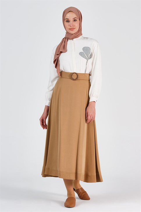 Armine Embroidery Detailed Skirt Camel 20Y1917