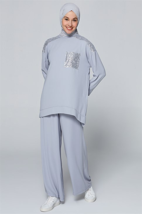 Armine Sequin Detailed Double Suit Gray Blue 20Y6115