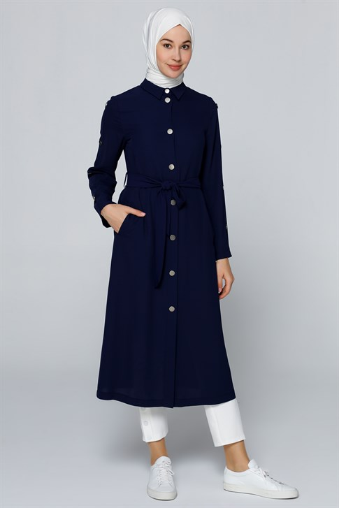 Armine Button Detailed Long Jacket Navy Blue 20Y7117