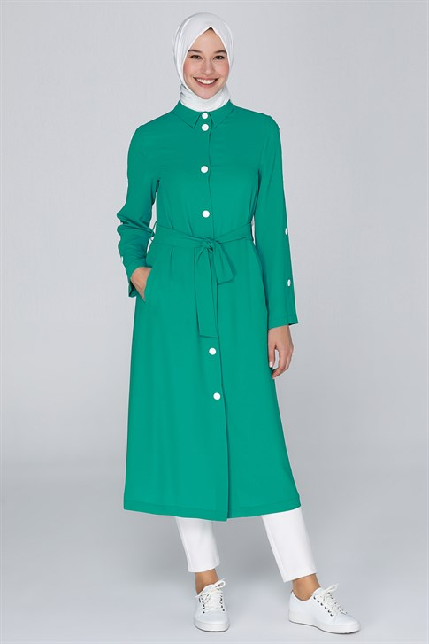 Armine Button Detailed Long Jacket Green 20Y7117