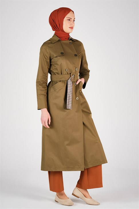 Armine Belt Detailed Trench Coat Khaki 20Y8201